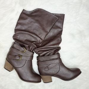 Brown Slouch Wrap Buckle Heeled Boots